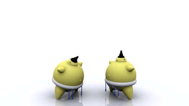3 d animation von japan sumo wrestlers verbeugen - sumo stock-videos und b-roll-filmmaterial