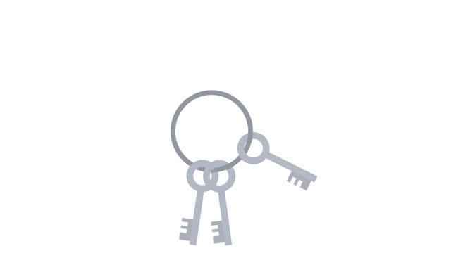 animazione dei tasti. un mucchio di chiavi. cartoni animati - portachiavi video stock e b–roll
