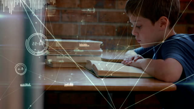 Animation of kid in a classroom over data processing in the background