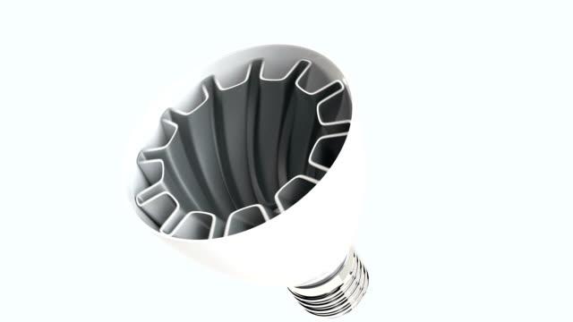 vídeos de stock, filmes e b-roll de 3 dcg animação de luz de diodo emissor de luz lâmpada de construção - led
