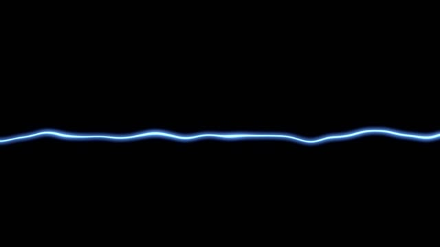 Animation of light blue line effect with sound waves oscillating on black background