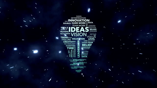 Animation of light bulb shape filled with words written on black background