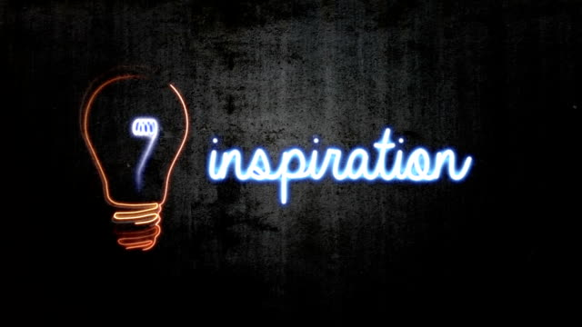 HD Animation of Light Bulb & word 'Inspiration' video