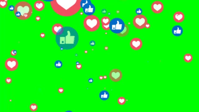 Animation of likes and hearts sociais media icons on green chroma key background Animation of likes and hearts sociais media icons on green chroma key background social media stock videos & royalty-free footage