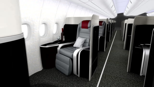 Animation of luxurious business class cabin interior video