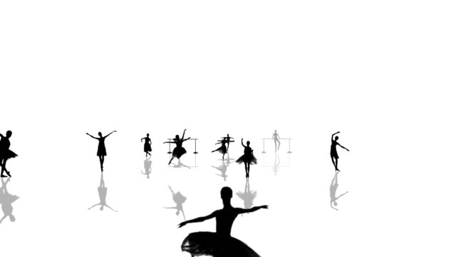 animation of many silhouette dancers ballerina on a white background series - baletnica filmów i materiałów b-roll