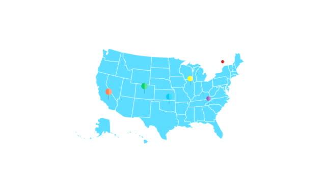 vídeos de stock, filmes e b-roll de animação do mapa dos eua com ponteiros. viagens, o conceito de mercado. canal alfa - pin