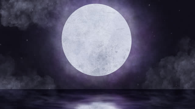 Animation of moon in night sky