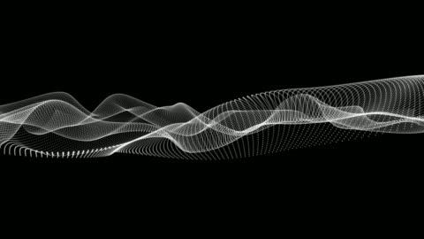 vídeos y material grabado en eventos de stock de animación de los movimientos de las líneas de punto ondulado blanco sobre fondo negro - curva forma