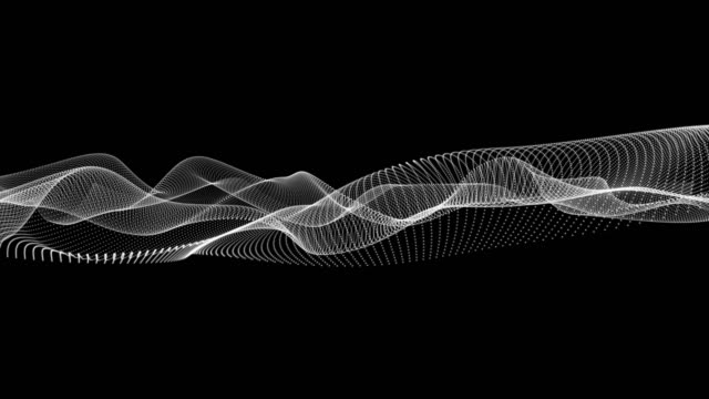 Animation of movements of white wavy dot lines on a black background Animation of movements of white wavy dot lines on a black background. Graphic abstraction of the rotation wave pattern stock videos & royalty-free footage