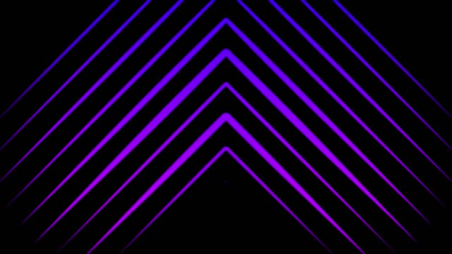 Animation of multi-colored pointers consisting of neon triangles moving up on the black background. Animation. Neon multi-colored geometric shapes and lines background