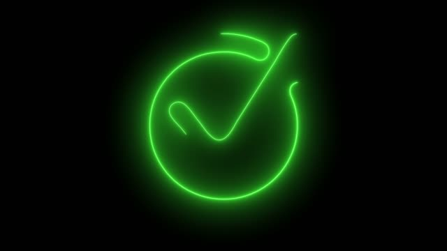 Animation of neon check mark symbol. Success check mark icon animation. 4k animation.