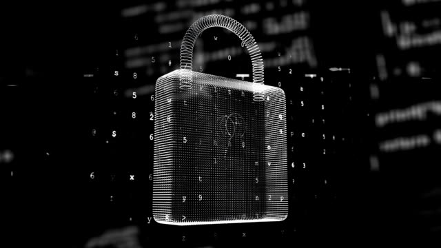 Animation of numeric padlock with data processing on black background