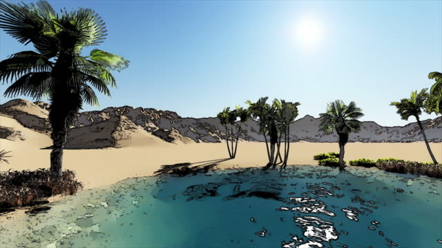 4K Animation Of Oasis In A Desert With Hot Sun In Background 4K Animation Of Oasis In A Desert With Hot Sun In Background desert oasis stock videos & royalty-free footage