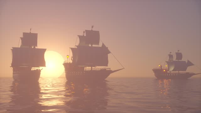 3D Animation of old wooden warships fleet on a foggy ocean at sunset