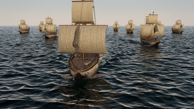 vídeos de stock e filmes b-roll de 3d animation of old wooden warships fleet on the ocean - navio