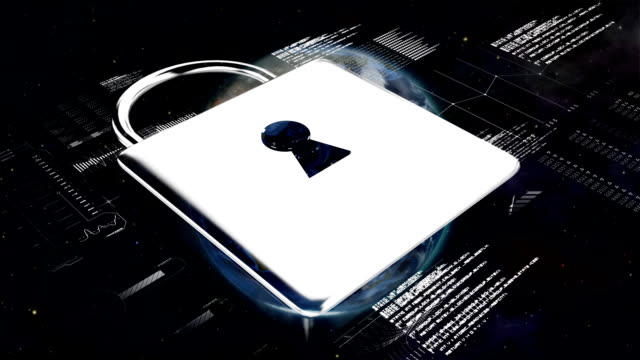 Animation of online security padlock icon and data processing