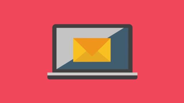 animation der phishing-login und passwort am angelhaken aus e-mail-umschlag auf rotem grund mit totenköpfen. - e mail stock-videos und b-roll-filmmaterial