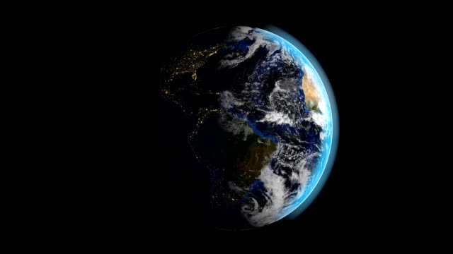 animation of planet earth rotating while day and the night passing in american continent - aerial map stock videos & royalty-free footage