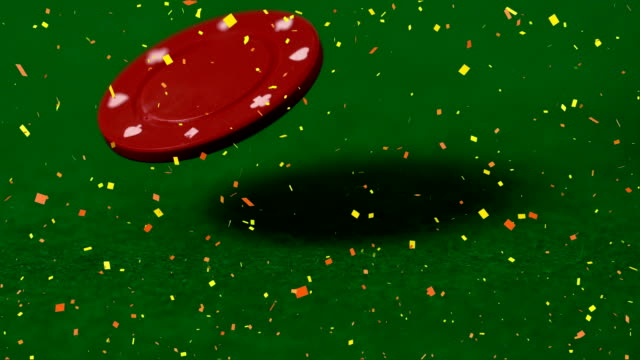 Animation of poker chips falling against a green background