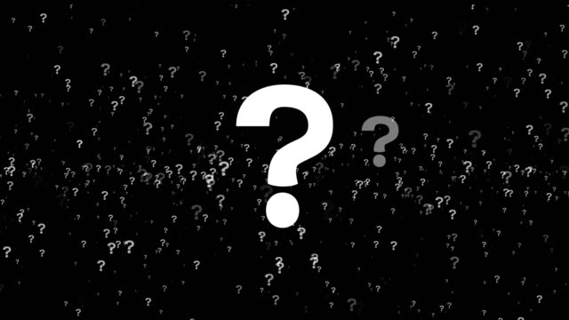 animation of questions floating around randomly, against a black background. 4k - question mark video stock e b–roll