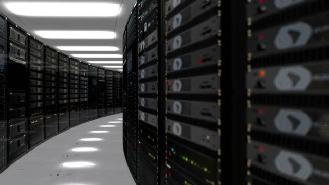 animering av rackservrar i data center 4k quad ultra hd-upplösning - server room bildbanksvideor och videomaterial från bakom kulisserna