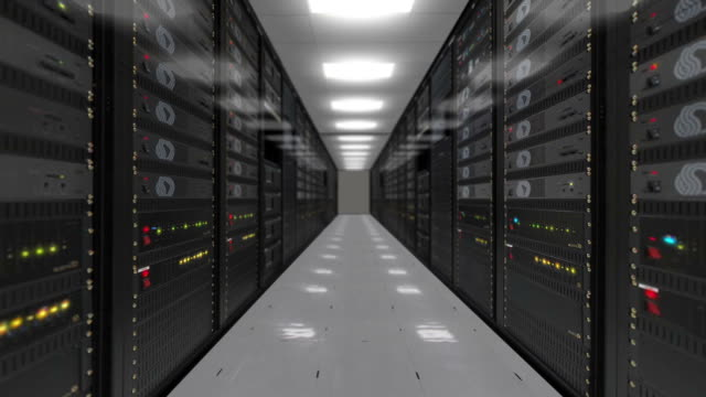 Animation of rack servers in data center video