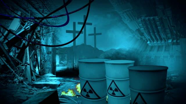 animation of radioactive zone  - Post apocalyptic scene video