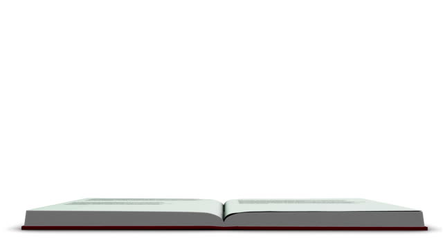 Animation of red book opening and letters floating up Animation of red book opening and letters floating up on white background open book stock videos & royalty-free footage