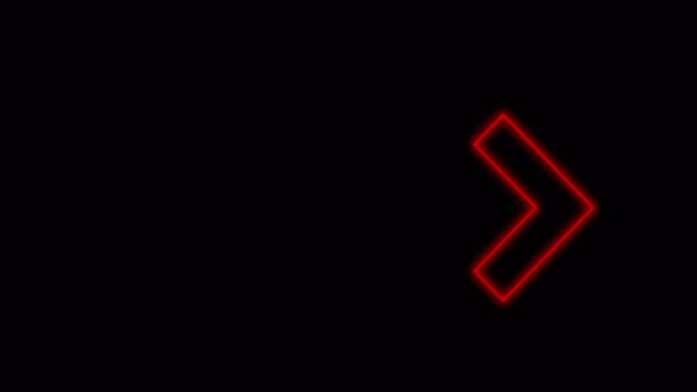 Animation of red neon arrows on a black background. Direction indicator. 4k video. Can be used for various media.