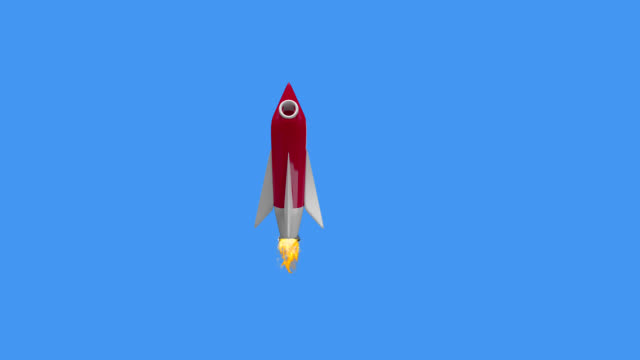 Animation of red spaceship rocket flying up and moving in seamless loop on blue background