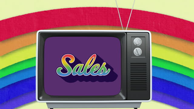 Animation of retro sales rainbow text over vintage tv set and rainbow in the background