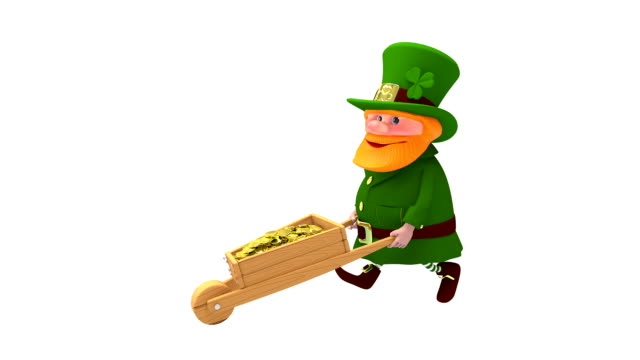 3D Animation of Saint Patrick and with Cart with Alpha Channel video