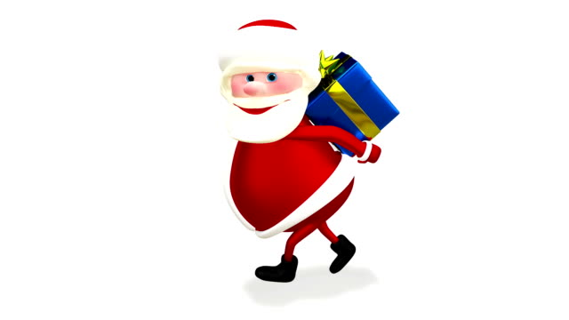 3D Animation of Santa with a Blue Gift with Alpha Channel video