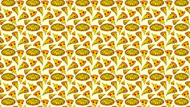 vídeos de stock e filmes b-roll de animation of seamless pattern with pizza - meat texture