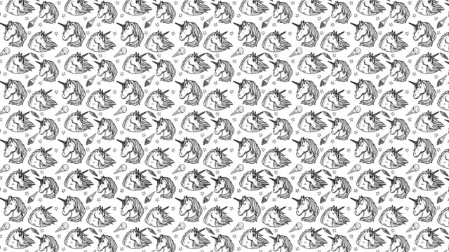 Animation of seamless pattern with unicorns video