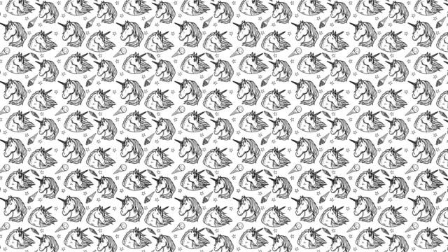 Animation der nahtlose Muster mit Einhörnern – Video