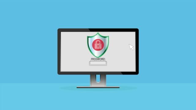 安全なアクセスとデータプライバシーのアニメーション、サイバーセキュリティとデータ保護の概念 - なりすまし犯罪点の映像素材/bロール