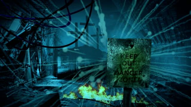 animation of sign Danger zone  - Post apocalyptic scene video