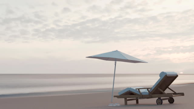 animation of single beach chair with view to the ocean in the evening sunlight