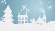 istock Animation of snowflakes falling over winter landscape 1280102025