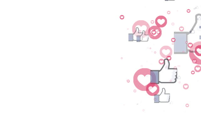animation of social media likes and loves apearing on white background and flying fast to the top of composition -social media concept - instagram filmów i materiałów b-roll