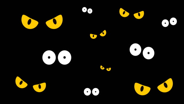 2D Animation of spooky eyes in the dark background - Halloween background