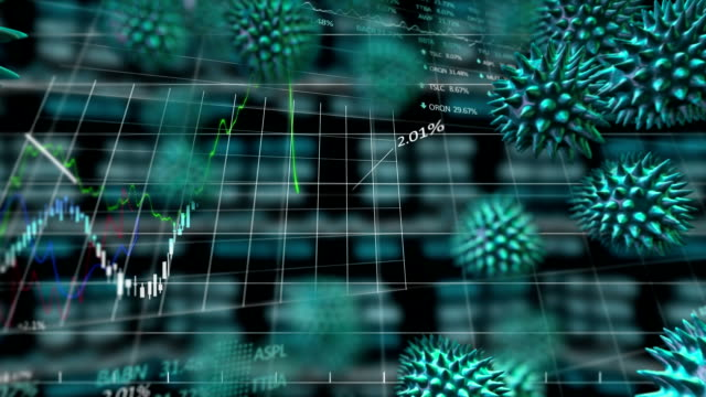 Animation of spreading green cells of coronavirus with data processing in background