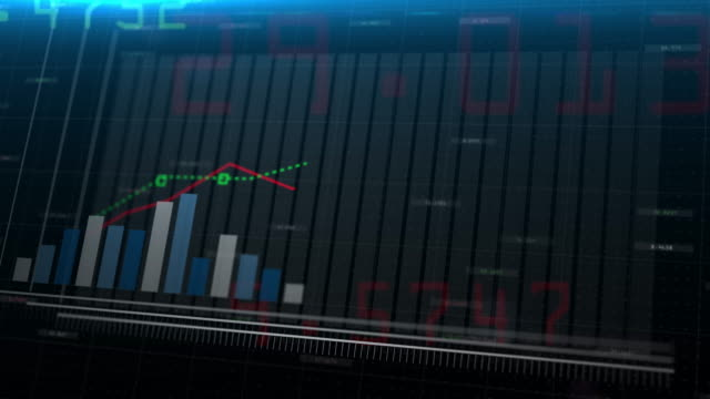3D Animation of Stock Market Information of rising blue bar graph following the arrow.Financial figures and Diagrams Growing on digital background.Financial markets - no people