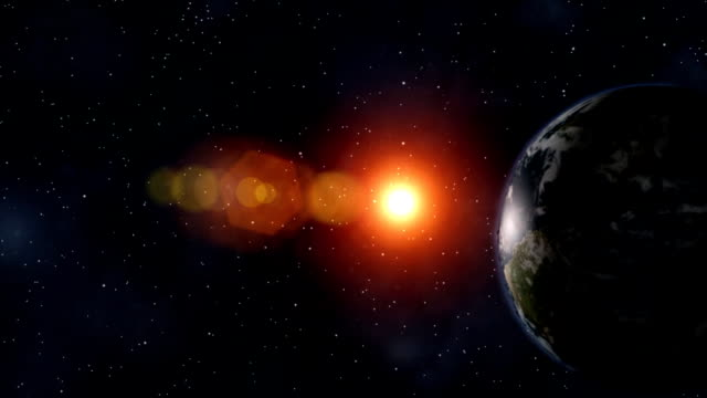 animazione 3d di terra alba dietro, seguita da enormi explosioin - big bang video stock e b–roll