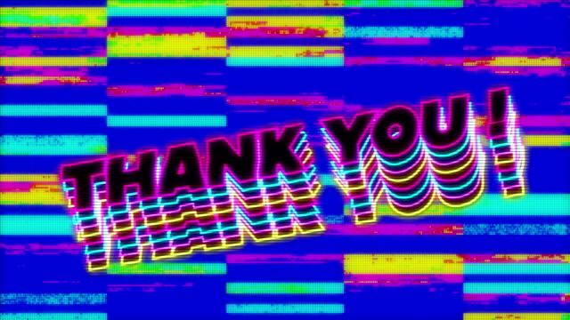 감사합니다! 매끄러운 루프에서 최면 움직임에 결함 줄무늬와 화면에 텍스트 - thank you background 스톡 비디오 및 b-롤 화면