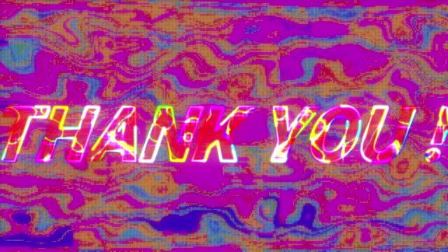감사합니다! 매끄러운 루프에서 최면 동작으로 깜박이는 줄무늬가있는 화면의 텍스트 - thank you background 스톡 비디오 및 b-롤 화면
