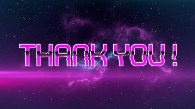 動畫謝謝!在視頻遊戲螢幕上寫入的文本在無縫迴圈中閃爍。 - thank you background 個影片檔及 b 捲影像