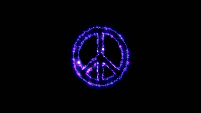 Animation of the appearance peace symbol with the alpha channel